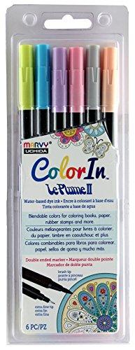 Marker America Tip Double (Uchida 6 Piece Colorin Le Plume II Coloring Book Pens, Pastel)