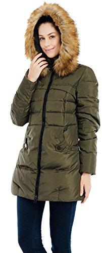 Puffer Jacket Parka Hood 57 Fur VALUKER Coat 90D Down Green with M Women's qwq8z06x