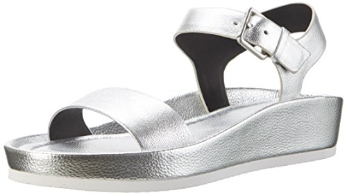 Calvin Klein Women's Helenah Metal Grain Wedge Heels Sandals Silver (Slv) IaE8lL