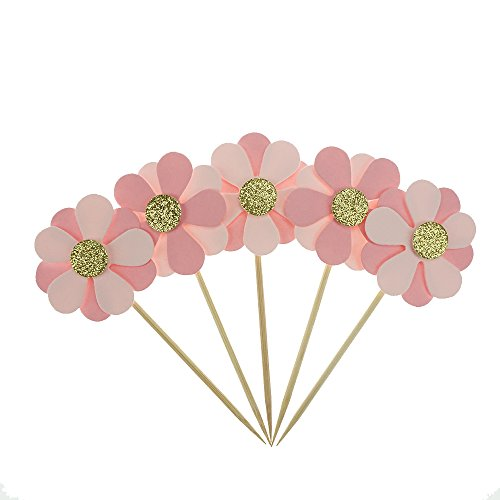 Pink Flower Cake Cupcake Toppers for Birthday Wedding Baby Shower Decoration Pack of 16 by GOCROWN