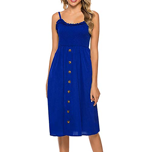 Women's Plus Size Dress,Yezijin Women Fashion Sexy V-Neck Solid Color Sling Points Fork Sleeveless Summer - Fork Rose Point Baby