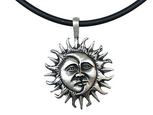 exoticdream Sun and Moon Face Solar Celestial Yin Yang Pewter Pendant +18