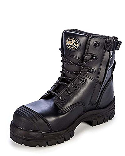Boots Chemical Work Resistant - Oliver Men's 6'' 45 Series Zip Up Chemical Resistant Work Boots, Black Leather, TPU, 13 M