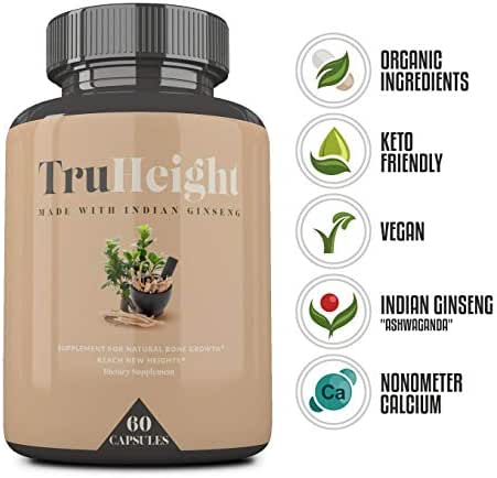 Height Growth Formula - Grow Taller Supplement - Supplement for Natural Bone Growth - Height Pill Supplement - Keto & Vegan with Indian Ginseng