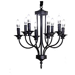 ZJMGFD Living Room Chandelier American Country Restaurant Chandelier Living Room Bedroom Lamp Wrought Iron Spray Black Country Style Lamp Led Chandelier (Color : Black)