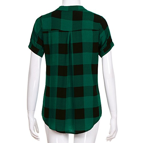 Blouse Courtes Shirt Sexy T Tee Rayure Top La Ménage Casual Haut Chic Mode Fashion Cher A shirt À Carreaux V Col Manche Lâche Ample Elegant Pas Femme Ete Jaysis Vert Vêtements Tops Tunique Zwf08nZ