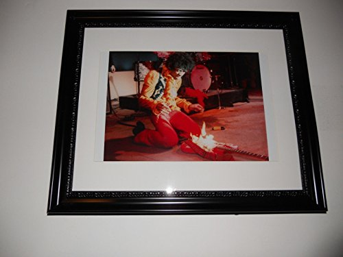Large Framed Jimi Hendrix  Guitar On Fire  Monterey Pop Festival Poster Rare 24  By 20