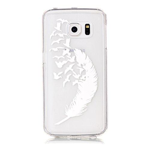 Funda Galaxy S6 edge,SainCat Moda Alta Calidad suave de TPU Silicona Suave Funda Carcasa Caso Parachoques Diseño pintado Patrón para Carcasas TPU Silicona Flexible Candy Colors Ultra Delgado Ligero Go Pluma