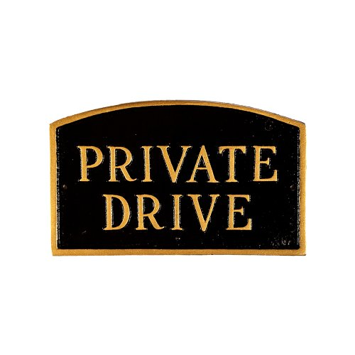 (Montague Metal Products SP-12sm-BG Private Drive Arch Statement Plaque, Small, Black and Gold)