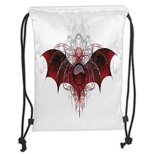 (Custom Printed Drawstring Sack Backpacks Bags,Vampire,Round Figure with Dragon Wings Grungy Display Victorian Ornaments Antique Style Decorative,Red Grey Black Soft Satin,5 Liter Capacity,Adjustable S)