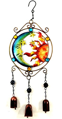 Bejeweled Display® Moon and Sun Faces w/ Stained Glass Wind Chimes Bell - Moon Display