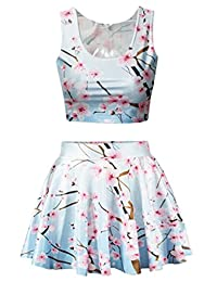 Q.Y.Fashion Women's Polyester Galaxy Print Crop Tank Top/Pleated Skater Skirts Set