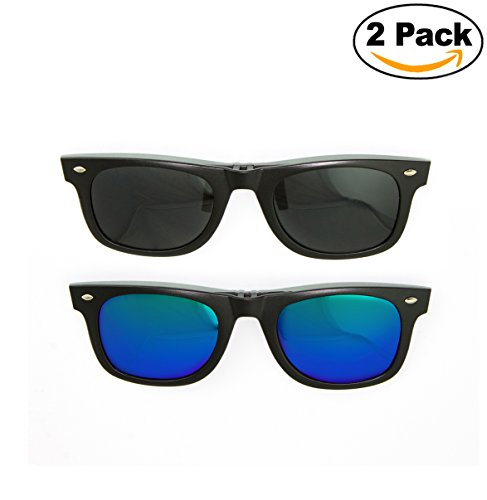 Newbee Fashion - Polarized Clip-On Flip Up Metal Clip Sunglasses Multi Purpose Flash Polarized Lenses (Glasses not included)