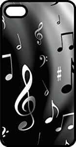 Music Notes Black & White Black Plastic Case for Apple iPhone 4 or iPhone 4s