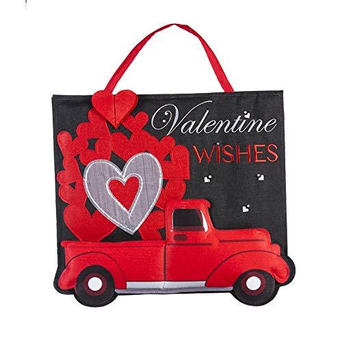 Evergreen Flag Truckload of Hearts Lit Burlap Door - Valentine Door Hanger
