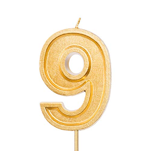 LUTER 2.76 Inches Large Birthday Candles Gold Glitter Birthday Cake Candles Number Candles Cake Topper Decoration for Wedding Party Kids Adults, Number 9