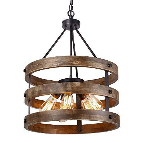 LUCY STORE Enjoyment Vintage Industrial Pendant Light Metal and Round Solid Wood Barrel Chandelier Antique Ceiling Iron Crown Embedded Linear Kitchen Chandelier 5 Lamp E27 Socket Luxury