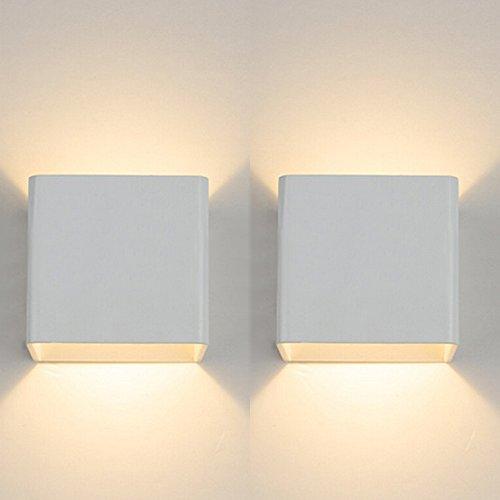 Topmo 2er Pack 7W LED Wandleuchten weiß Wandlampen hochwertige Aluminum Flurlampe Up und Down Design 2700K Warmweiß[Energieklasse A+]