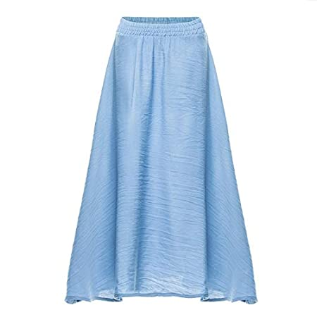 FELICIGG Falda de algodón de Cintura elástica Casual de Color Liso ...