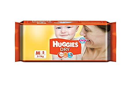 Huggies New Dry Diapers Medium (5 Count) Taped Diapers at amazon