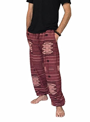 Baggy Pants Men's One Size Printed 100% Cotton Harem Pants Hippie Boho (Red) -