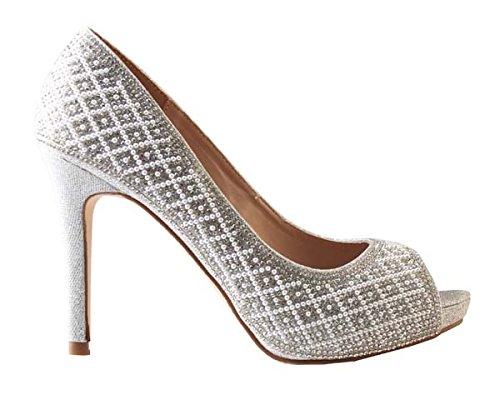 De Collezione Fiore Donne Angolo Perla Rhinestone Peep Toe Scarpe Da Ballo Prom Dress Tall-angle Argento-59