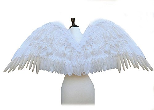 [SACASUSA (TM) Large Feather Costume Fairy Angel Wings in White] (White Fairy Costumes)