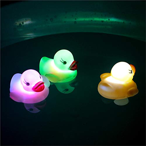 (OWIKAR Rubber Duck Bath Flashing Light Toy, Tub Floating Toy Bath Water LED Light Auto Color Changing Baby Bathroom Toys Multi Color LED Lamp Bath Toys for Baby Boys and Girl, 3 Pack, Random Color)