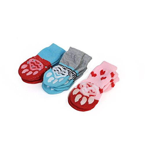 Amazon.com : KAYI Pet Socks For Cats Paws Bowknot Printed Anti-Slip Knit Claws Protector Indoor Exercise : Pet Supplies