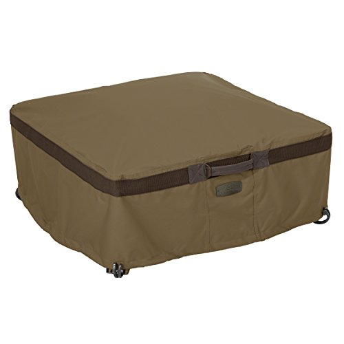 Classic Accessories Hickory Heavy Duty Full Coverage Square Fire Pit Cover – Durable and Water Resistant Patio Cover, Large (55-636-240101-EC)