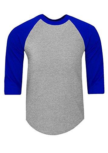 RA0513_L Baseball T Shirts Raglan 3/4 Sleeves Tee Cotton Jersey S-5XL H.Grey/Royal ()