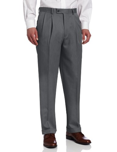 Louis Raphael Men's Ultimo Microfiber Pleated Dress Pant, Gray, 40x34 (Grey Pleated Pants Dress)
