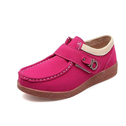 T-july Womens Scarpe Casual Da Passeggio In Camoscio Antiscivolo Scarpe Da Guida Leggere Penny Scarpe Basse Rosa Rosso