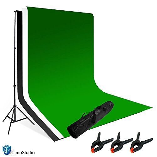 LimoStudio Photography Photo Video Studio Backdrop Background Kit, White Black Green Chromakey Backdrops, Backdrop Support Stand with Carry Bag, AGG796 by LimoStudio