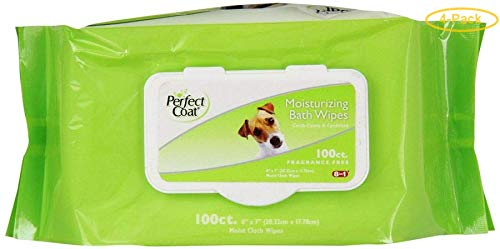 Perfect Coat Moisturizing Bath Wipes for Dogs 100 Pack - Pack of 4 by Perfect Coat
