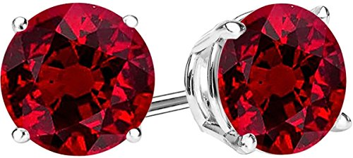 1/2 Carat Total Weight Ruby Solitaire Stud Earrings Pair 14K White Gold Popular Premium Collection 4 Prong Push Back
