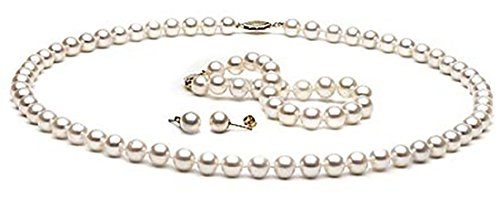 14kt Gold White Cultured Freshwater Pearl Jewelry Set 7 8mm Pearls AAA Grade
