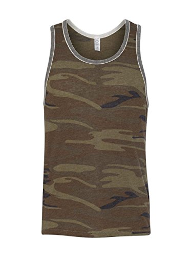 Alternative Men's Printed Double Ringer Tank, Camo/Eco Grey, (Camo Ringer)