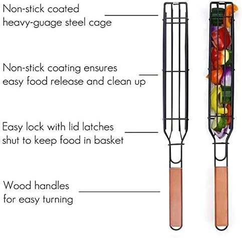 FinWell Kebab Barbecue Baskets No Skewers Needed Square Stainless Steel Barbecue Net with Wooden Handle