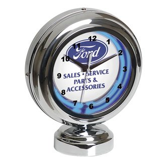 Ford Retro Tabletop Blue Neon Clock: Authorized Sales & Service Insignia