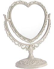 FRCOLOR Tabletop Vanity Mirror Two Sided Swivel Makeup Mirror European Love Heart Mirror Double Face Princess Mirror for Desk Dresser Beauty Use Beige