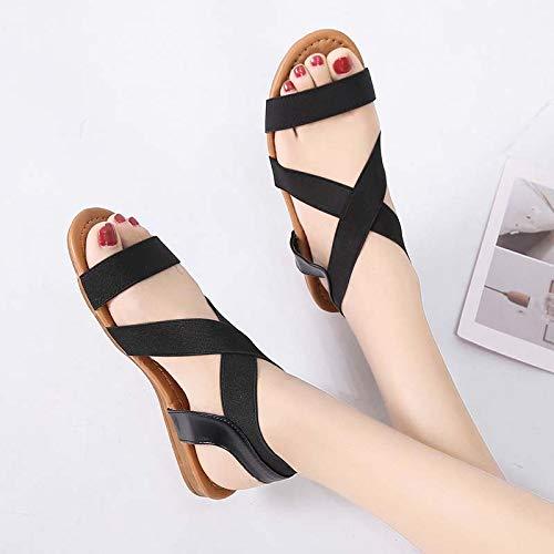 ZOEREA Sandalias Mujer Cuero Zapatos Planos PU Bohemia Chanclas Verano Piedras Sandals Strass