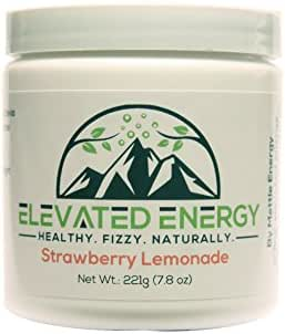 Healthy Energy Drink Powder - Stevia & Natural Caffeine | Elevated Energy Fizzy Drink Mix | Strawberry Lemonade | 30 Servings