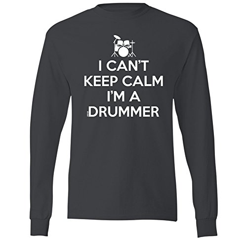 I Can't Keep Calm I'm A Drummer- Swift PIgeon Apparel Mens Long Sleeve T-Shirt (2XL Charcoal)