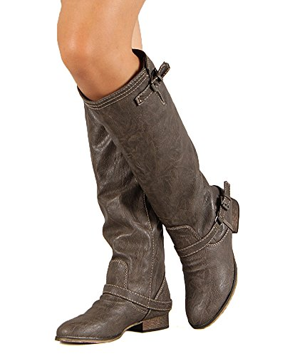 Breckelles Outlaw-81 Riding Boots Premium Taupe Red Zipper qWLHJq2W9