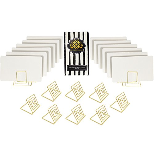 CB Accessories Wire Place Card Holder Stands with White Cards for Weddings, Dinner Parties, Table Top Numbers, Food Signs (20 Sets - Gold)