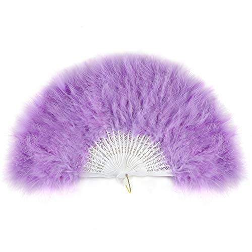BABEYOND Roaring 20s Vintage Style Folding Handheld Flapper Marabou Feather Hand Fan for Costume Halloween Dancing Party Tea Party Variety Show 11