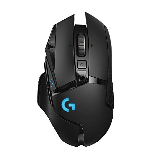 - Logitech G502 Lightspeed Wireless Gaming Mouse with Hero 16K Sensor, PowerPlay Compatible, Tunable Weights and Lightsync RGB