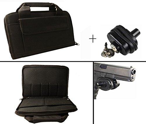 Black Hi Point Hi-Point 9mm .22 .357 Sig 38 Special .40 S&W .45 ACP GAP Dual Hand Gun Handgun Revolver Case Fits 2 Pistols w/ 5 Mag Magazine Pockets +Key Trigger Block Lock