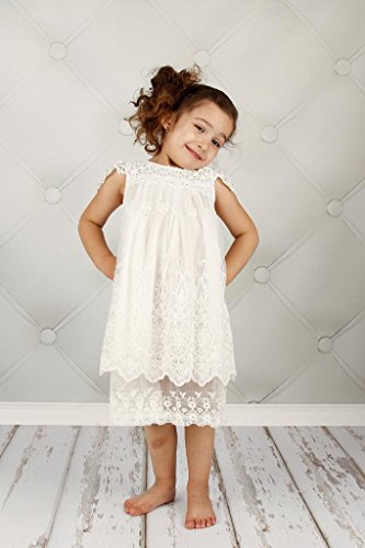 Bow Dream Vintage Rustic Baptism Lace Flower Girl's Dress Off White 5 by Bow Dream (Image #2)